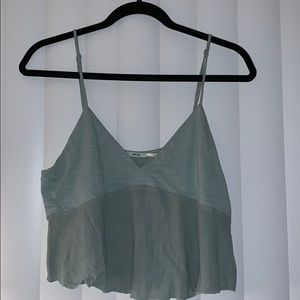 Mint colored crop tank top